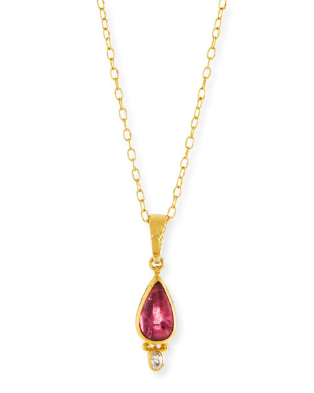 24k Pink Tourmaline & Diamond Pendant Necklace