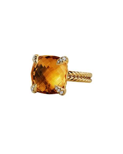 Châtelaine 18k Gold Citrine Ring w/ Diamonds, Size 7