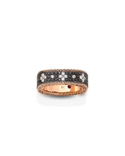 18k Rose Gold Venetian Princess Diamond Ring with Black & White Diamonds, Size 6.5