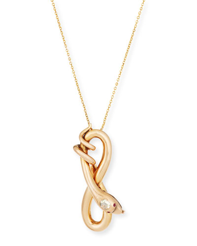 14K Rose Gold Serpent Pendant Necklace