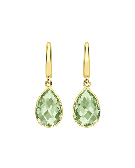 Kiki Classic Pear Drop Earrings in Green Amethyst & 18K Gold