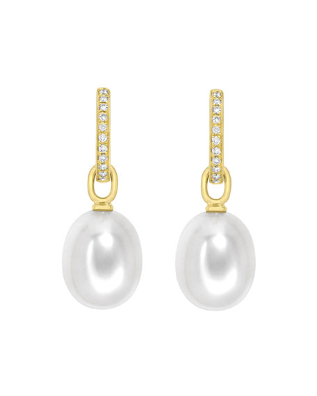 18K Yellow Gold & Detachable Pearl Earrings with Diamonds