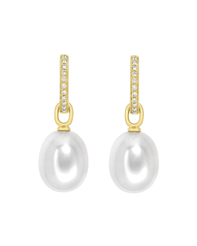 18K Yellow Gold & Detachable Pearl Earrings with Diamonds