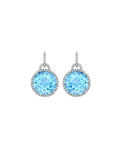 Grace 18k Drop Earrings with Blue Topaz & Diamonds