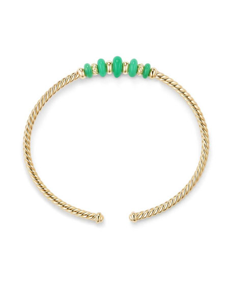 18k Gold Rio Rondelle Cabled Cuff Bracelet w/ Chrysoprase, Size M