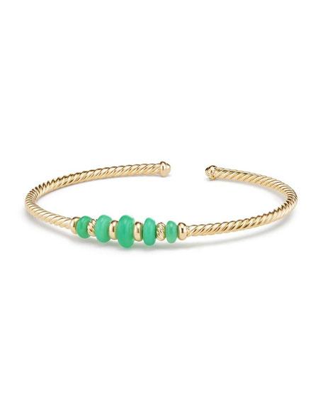 18k Gold Rio Rondelle Cabled Cuff Bracelet w/ Chrysoprase, Size M