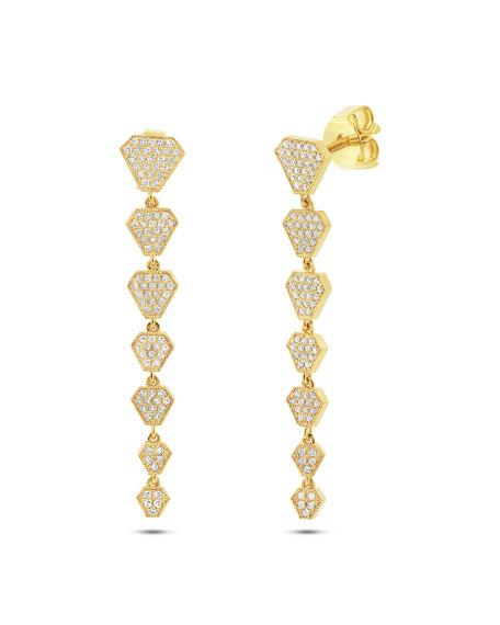 14k Diamond Shield Drop Earrings