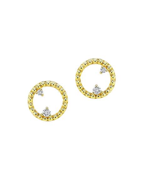 14k Circle Bubble Stud Earrings w/ Diamonds