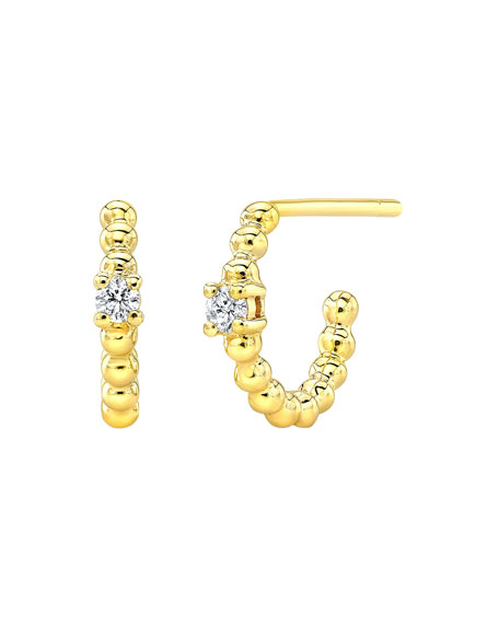 14k Single Diamond Huggie Hoop Earrings