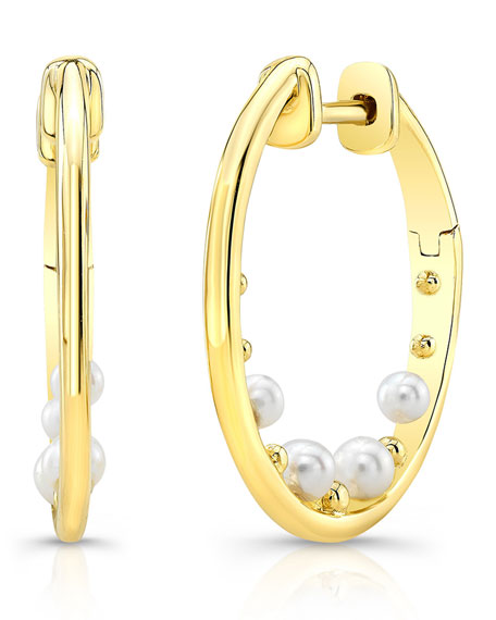 Ron Hami 14k Pearl & Bubble Hoop Earrings aHUnmAf