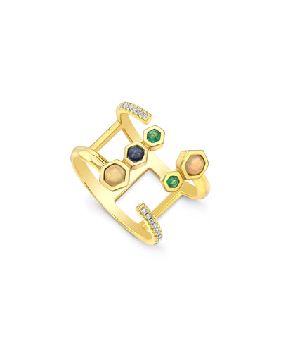 14k Gold Open-Front Ring with Hex-Set Stones, Size 7