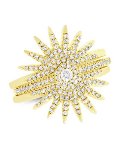 14k Diamond Pavé Starburst Rings, Set of Three (Size 7)