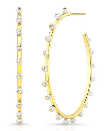 14k Bubble Large Hoop Earrings with Pearls