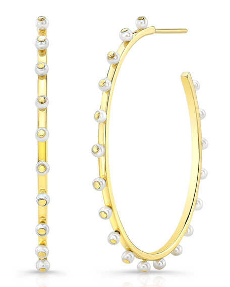 14k Bubble Large Hoop Earrings with Pearls