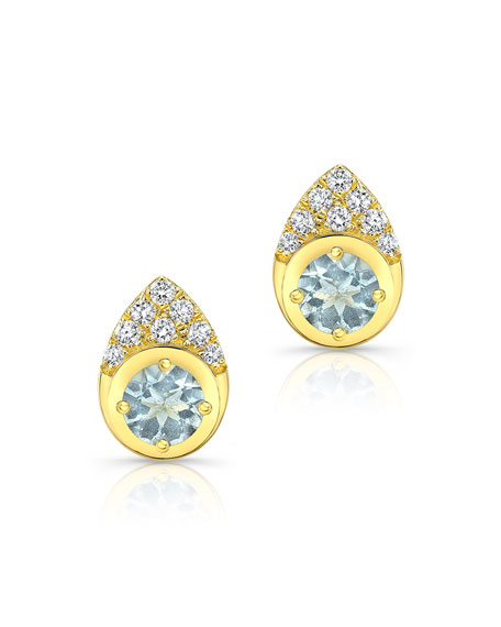 Ron Hami 14k Aquamarine Cluster Earrings