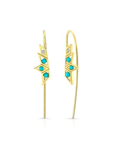14k Turquoise & Diamond Threader Earrings