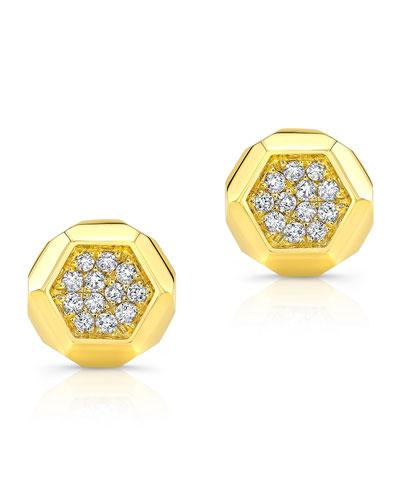 14k Love Bolt Diamond Stud Earrings