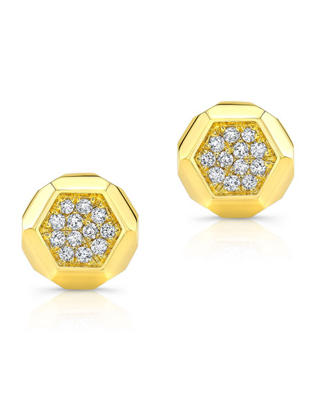 14k Love Bolt Diamond Stud Earrings