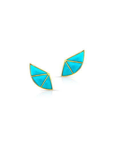 14k Turquoise Fan Earrings