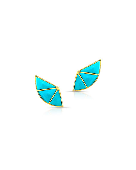 14k Turquoise Fan Earrings