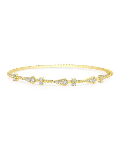 14k Gold Diamond Bubble Bangle