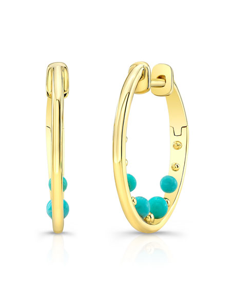Ron Hami 14k Turquoise Bubble Huggie Hoop Earrings wmZka