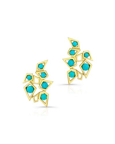 14k Turquoise Cluster Earrings