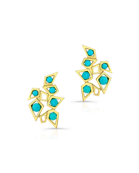 14k Turquoise Cluster Earrings