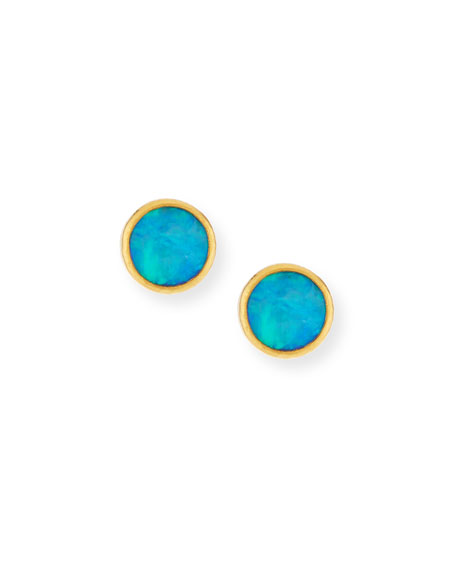 24k Amulet Hue Opal Stud Earrings