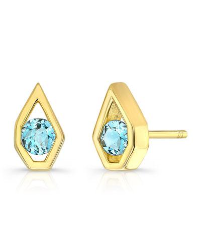 Birds-I-View Stud Earrings, Aquamarine