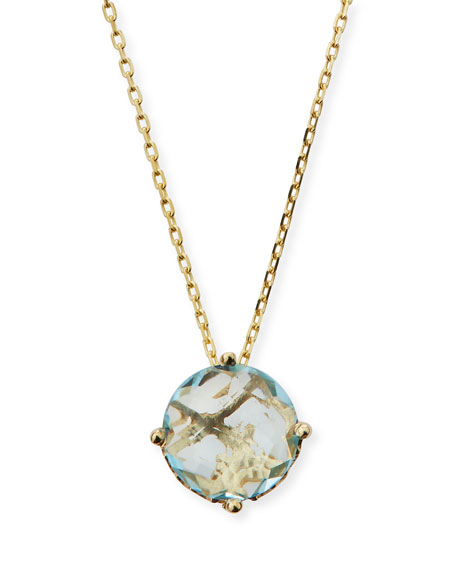 14k Blue Topaz Round Pendant Necklace