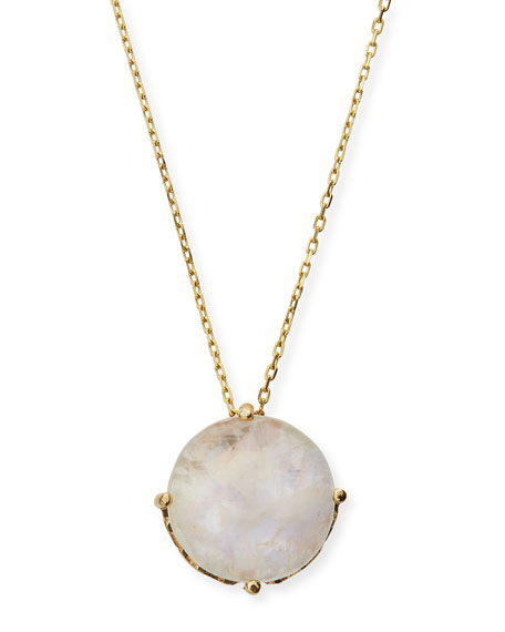 14k Rainbow Moonstone Round Pendant Necklace