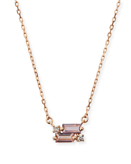 14k Rose de France & Topaz Pendant Necklace