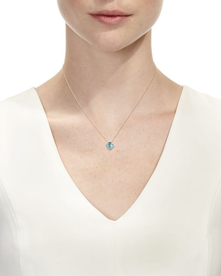 14k Swiss Blue Topaz Pendant Necklace