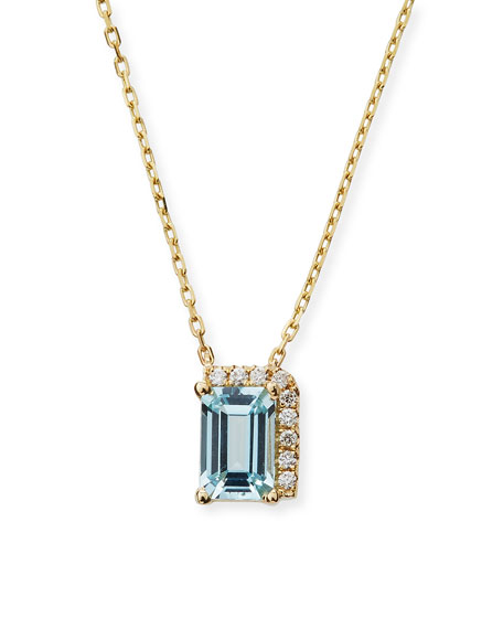 14k Blue Topaz & Diamond Pendant Necklace