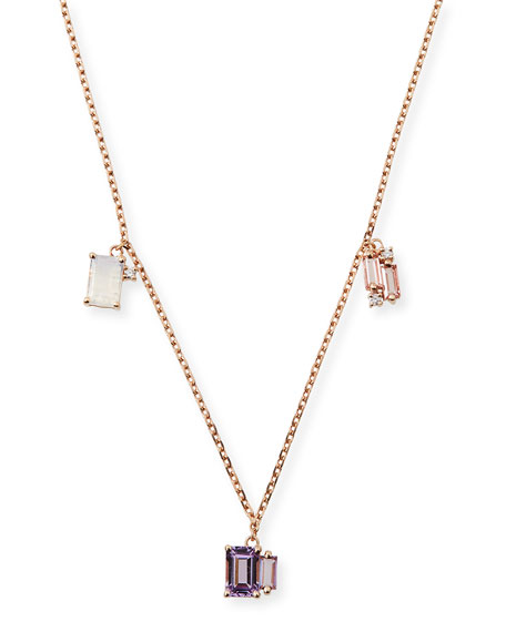 Suzanne Kalan 14k Mixed Triple-Dangle Necklace