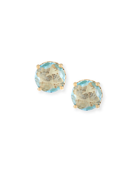 14k Blue Topaz Firework Stud Earrings