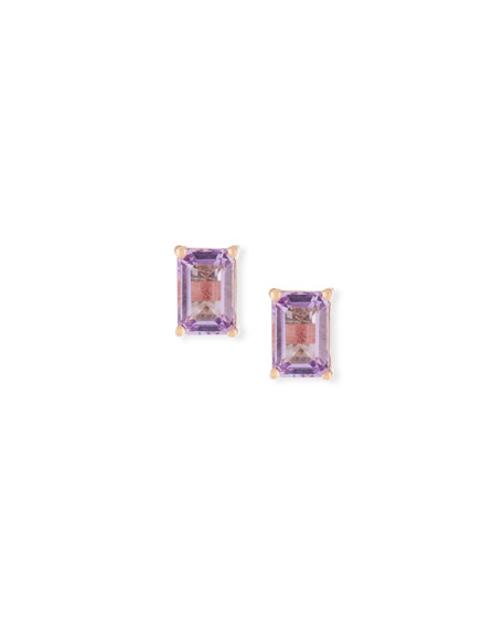 14k Rose de France Amethyst Emerald-Cut Earrings