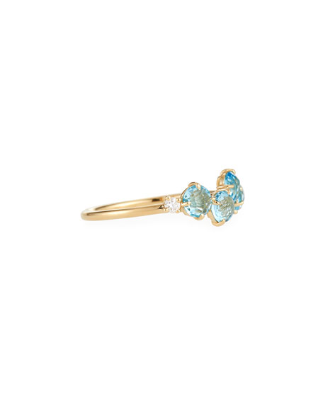 14k Blue Topaz & Diamond Uneven Band Ring, Size 7