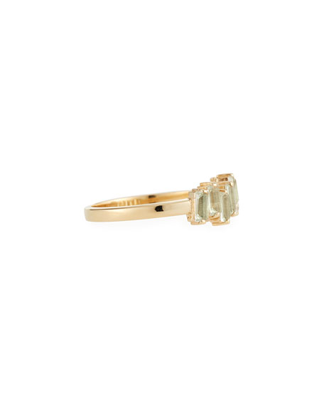 14k Gold Green Amethyst Fireworks Band Ring, Size 6
