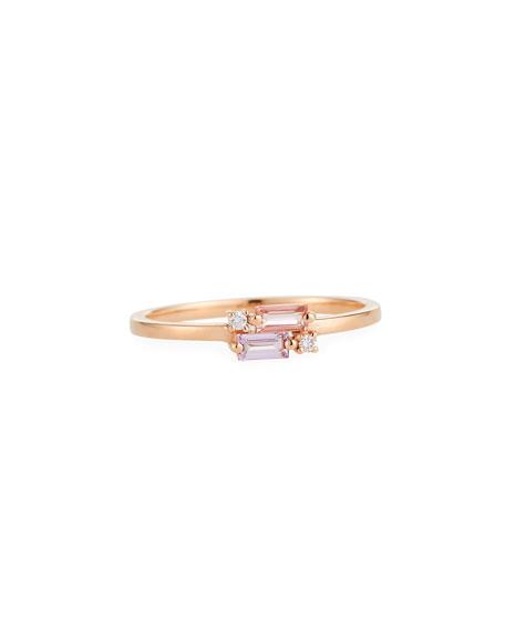 14k Baguette & Diamond Fireworks Ring, Size 6.5
