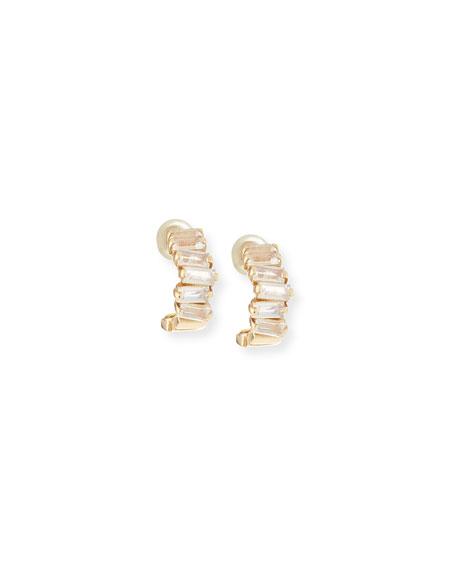 14k Mini Moonstone Hoop Earrings