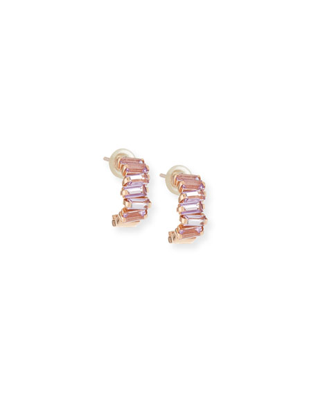 14k Mini Rose de France Amethyst Hoop Earrings