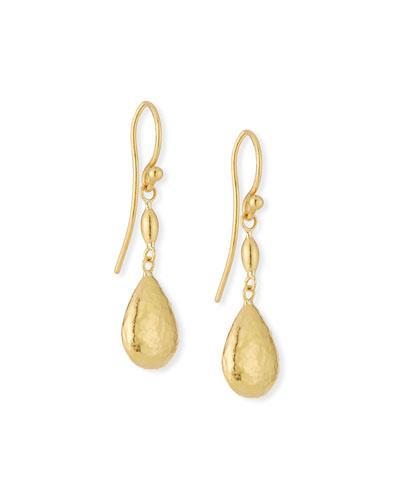 24k Delicate Bead Short Hollow Drop Earrings
