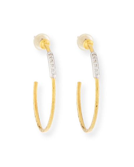 22k Geo Hoop Earrings w/ Diamond Pave