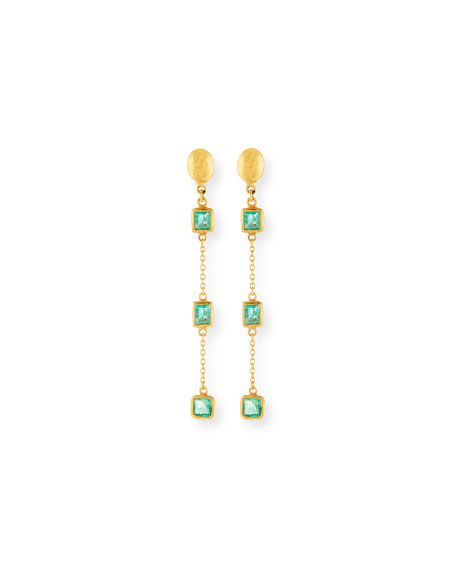Gurhan 22k Linear Triple Emerald Drop Earrings