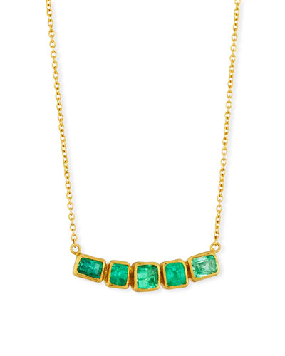 Curved Emerald Bar Pendant Necklace