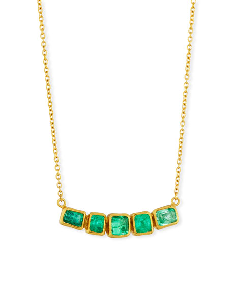 Gurhan Curved Emerald Bar Pendant Necklace