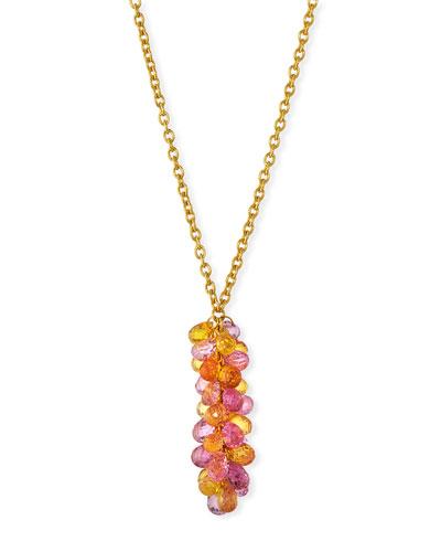 Delicate Dew Cluster Fancy Sapphire Pendant Necklace