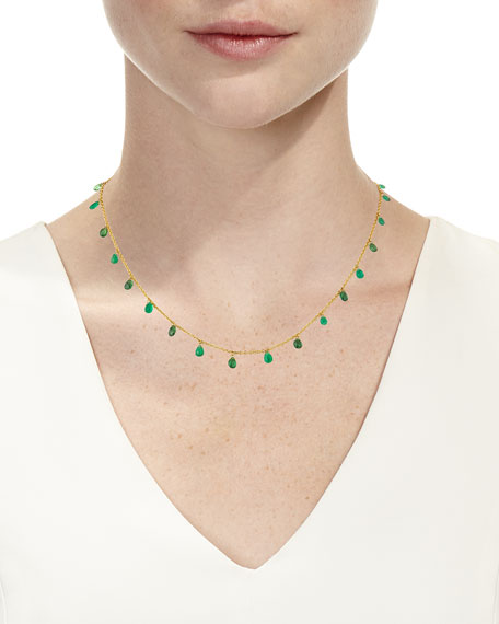 One-of-a-Kind 22k Gold Shaker Necklace with Emerald & Tsavorite Briolettes